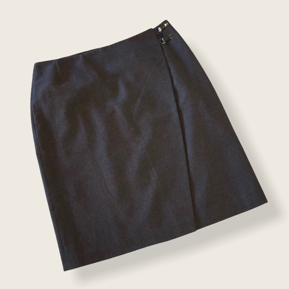 Wolford Gray Wool Wrap Front Mini Skirt 6